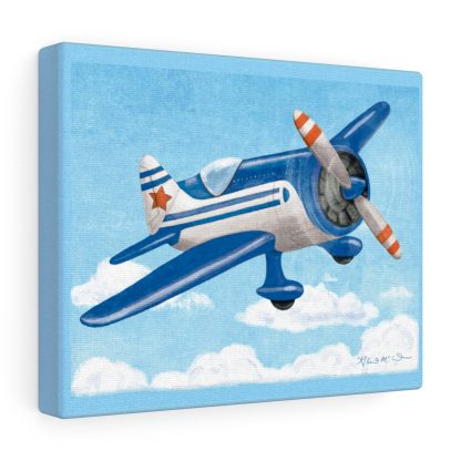 retro airplane in blue and orange