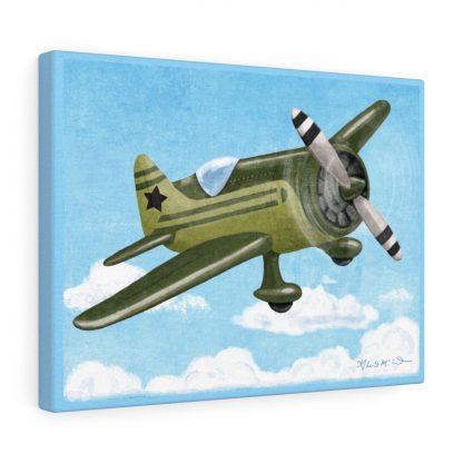 retro airplane in olive and black
