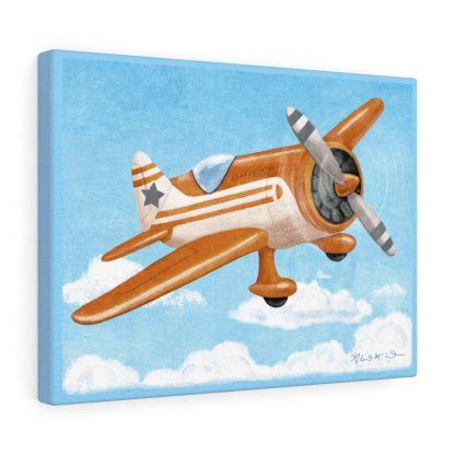 retro airplane in gray and orange