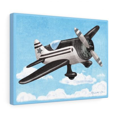 retro airplane in gray, black and white