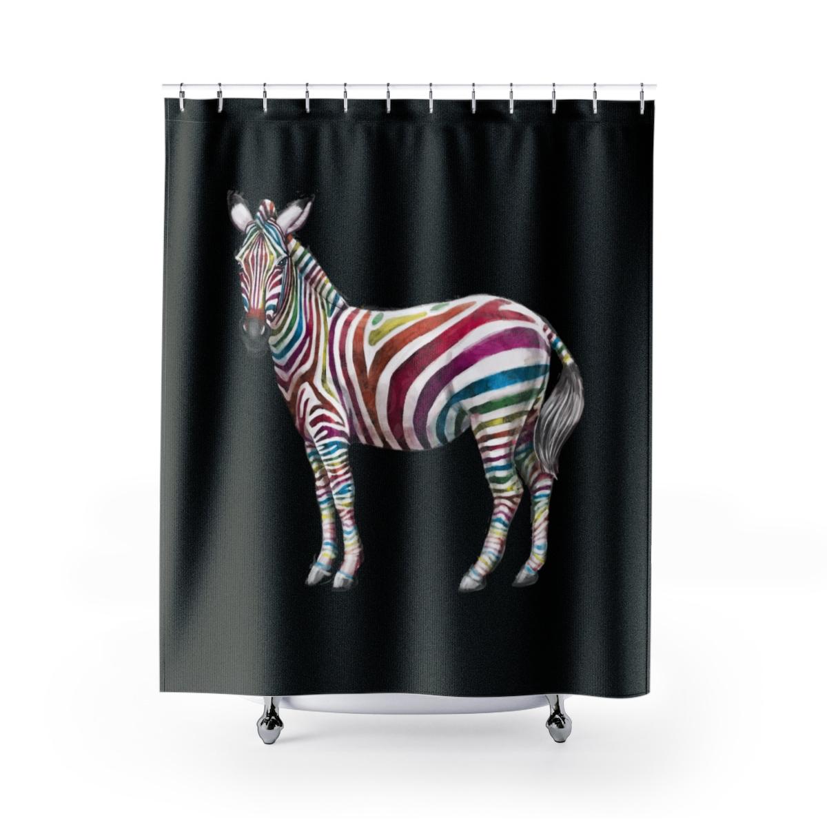 Rainbow Zebra Shower Curtains